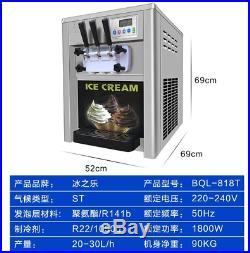 Commercial 1800W 20-30L/h 3Flavor Soft Ice Cream Maker Frozen Ice Making Machine