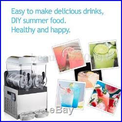 Commercial 2 Tank 30L Frozen Drink Slush Slushy Make Machine Smoothie Maker 110V