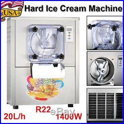 Commercial 3000/min Frozen Hard Ice Cream Machine 20L/h Steel Ice Cream Maker US