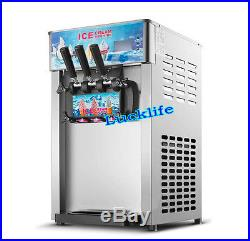 Commercial 3 Flavor Soft Ice Cream Machine Frozen Ice Cream Cones Machine 220V H