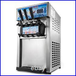Commercial 3-Flavor Soft Ice Cream Machine Maker 18L/H Yogurt Ice Cream Maker