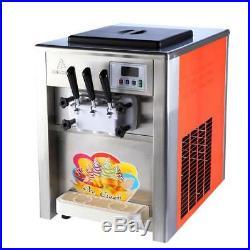 Commercial 3 Flavor Soft Ice Cream Machine Soft Ice Cream Cones Maker 220/110V a