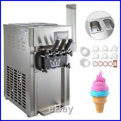 Commercial 3 Flavors Soft Ice Cream Machine 18L/H Frozen 3 Flavor 1200W St. Steel