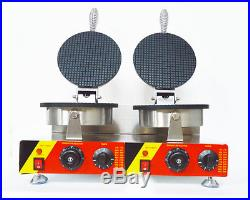 Commercial Electric Ice Cream Cone Machine Electric Waffle Maker Dual Baker 110V