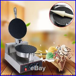 Commercial Electric Stainless Steel Ice Cream Waffle Cone Maker Machine 110V