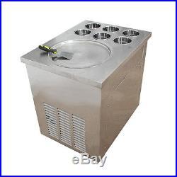Commercial Fried Ice Cream Yogurt Machine 1pan 6boxes IceCrean Roll Making Cool
