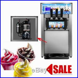 Commercial Frozen Soft Serve Ice Cream Maker Machine 3-Flavor 18L/H Ship from US