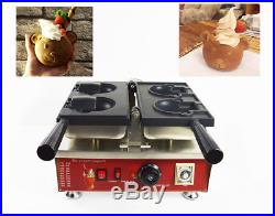 Commercial Nonstick Electric Ice Cream Taiyaki Bear Waffle Maker Machine 110V