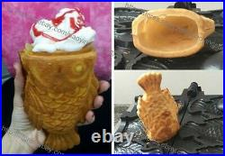 Commercial Nonstick Gas 3pcs Fish Waffle Ice Cream Taiyaki Machine Maker Baker
