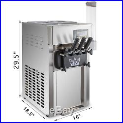 Commercial Soft Ice Cream 3 Flavor Steel Frozen Yogurt Cone Maker Machine 110V