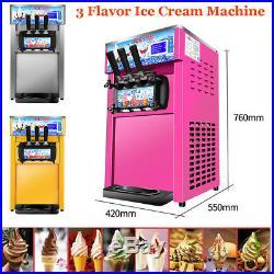 Commercial Soft Ice Cream 3 Flavor Steel Frozen Yogurt Cone Maker Machine New