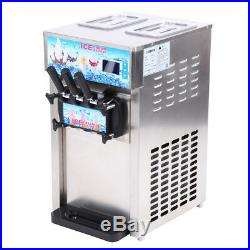 Commercial Soft Ice Cream Machine Frozen Yogurt 3 Flavors Mix Flavors 16-18L/H
