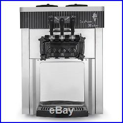 Commercial Soft Ice Cream Machine Stainless Steel R410a 3 Flavors Frozen