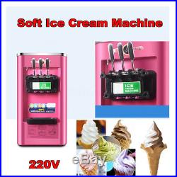 Commercial Soft Ice Cream Yogurt Cone Machine Frozen Cone Maker 3 Flavors 220V