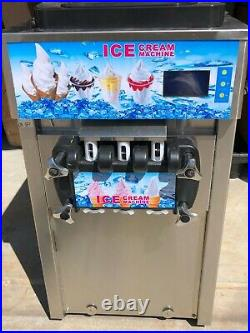 Commercial Soft Serve Ice Cream Machine 3-Flavor 110V Stainless Steel ZM-168 NEW