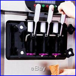 Commercial Soft ice cream making machine Desktop automatic drum 3 flavors Pink