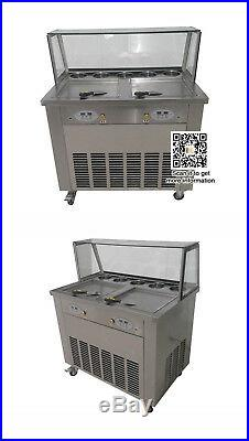 Commerical fry yogurt fruit Fried ice cream roll machine, two suqare roll pans