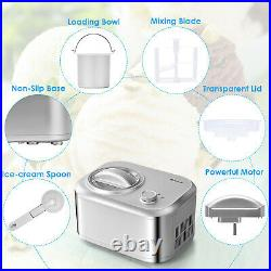 Costway Ice Cream Maker 1.1 QT Automatic Frozen Dessert Machine with Spoon Silver