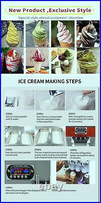 Countertop 2+1 mixed soft serve ice cream machine, gelato ice cream maker