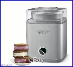 Cuisinart 2 QT Frozen Icecream Yogurt Sorbet Ice Cream Maker Automatic Canister