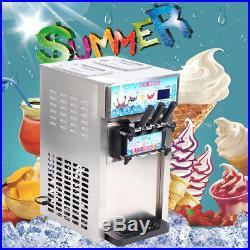 Defective 18L/H Soft Ice Cream 3 Flavor Steel Frozen Yogurt Cone Maker Machine