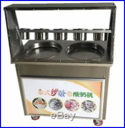 Double Fry Pan Electric Thai Fried Ice Cream Yogurt Roll Maker Machine