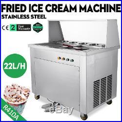 Double Pan Fried Ice Cream Machine Commercial Thai Roll Ice Cream Yogurt Making
