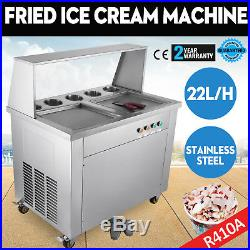 Double Pan Fried Ice Cream Machine Thai Roll Ice Cream 22L/H Yogurt Making