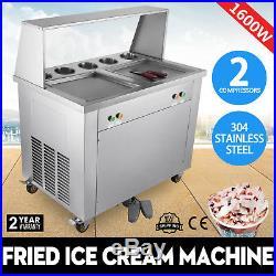 Double Pan Fried Ice Cream Machine Yogurt Making Roll Maker 2 Pan 5 Buckets