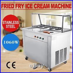 Double Pans Thai Fried Ice Cream Machine, Ice Cream Roll Maker with 5 Boxes