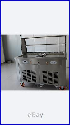 Double Square Pan Roll Ice Cream Thai Machine with 11 Compartments Vending Sweet