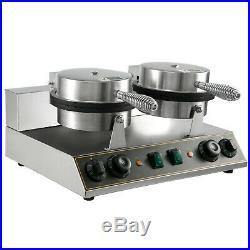 Electric Ice Cream Cone Machine Waffle Maker 1200W Screw Handle Dual Baker