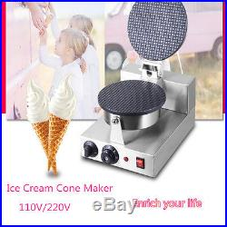 Electric Nonstick Regular Ice Cream Waffle Cone Maker Baker Machine 110/220v