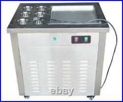 Fried Ice Cream Machine With Dust Cover Commercial Make Dessert 110V Single Flat