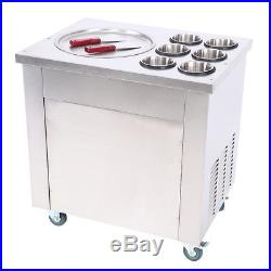 Fried Ice Cream Maker 1 Pot With 6 Buckets Roll Ice Cream Machine Defrost 740W
