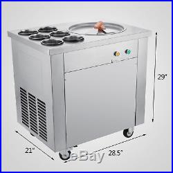 Fried Ice Cream Maker Ice Cream Machine with Single Pot 6 Buckets Commercial 740W