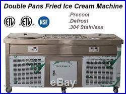 Fried Thai Ice Cream Double Pans Yogurt Machine Roll Maker Defrost 50cm ETL NSF