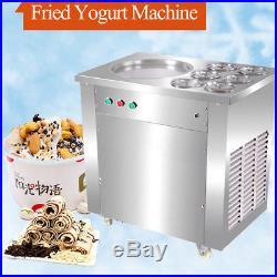 Fried Yogurt Ice Cream Machine Fruit Ice Cream Roll Maker 1 Pan 6 Buckets 110V
