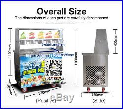 Fried ice cream roll machine, two square pans ice cream maker with 5 common boxes