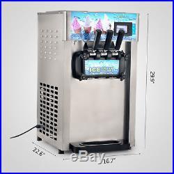 Frozen Soft Ice Cream Machine Mix Yogurt Flavor 110V 3 Flavors Ice Cream Maker