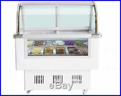 Gelato Ice Cream Freezer Showcase 12 pan Refrigeration Display Case Commercial