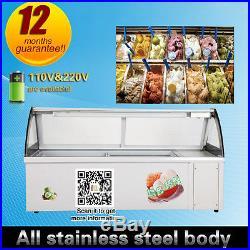 Hard Ice cream showcase 10 taste Italian Ice cream Display Gelato Glass Display