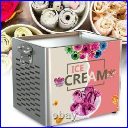 Home Fry Pan Electric Fried Yogurt Ice Cream Roll Machine Maker Stainless Steel
