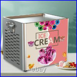 Home Fry Pan Electric Fried Yogurt Ice Cream Roll Machine Maker Stainless Steel