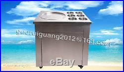 Hot, fried ice cream machine, single pan ice cream maker machine with six buckets
