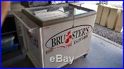 Ice Cream Cart Bruster's Real Ice Cream is the logo on cart