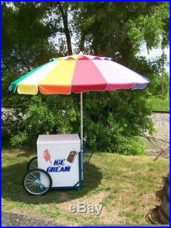 Ice Cream Cart with Umbrella red and blue