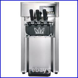 Ice Cream Machine Commercial Soft Serve Stainless Frozen Yogurt Maker 3 Flavor