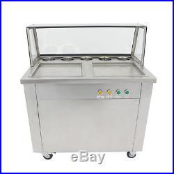 Ice Cream Roll Maker with 5 BoxesHot Double Pans Thai Fried Local Pickup