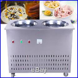 Multi-functional Fried Ice Cream Roll Machine Double Pans Fry Ice Cream Machine